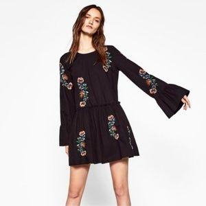 Zara Black Floral Embroidered Frill mini dress M